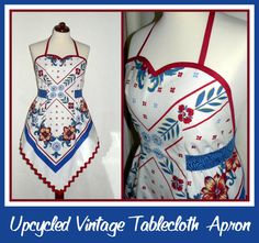 uPcYcLeD Vintage Tablecloth SWEETHEART Neckline by LauriesGiftsBiz