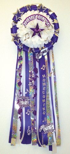 "Mascot Head or 5"" Bear White or Beige Silk Mum 7.5"" 21 Layers - White only (3) Trinkets - Awesome, Touchdown and Homecoming Burst (2) People's Names on Custom Printed Ribbons (3) Custom Ribbons - Home"