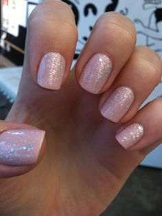 Pink Sparkly Nails. That crooked nail is throwing me off though.