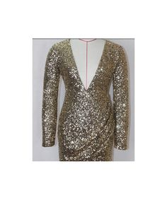 Bqueen Golden Shining long sleeve sequins deep V dress