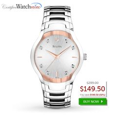 BEST DEAL! Bulova 96D116 Diamond SAVE 50% OFF.  Every diamond is set by hand. 2 Tone steel case, Silver dial, Stainless steel bracelet, Water resistant 30 metres, Mineral Crystal Glass, Fold Over Clasp, 39mm case width. SAVE 50% OFF http://www.certifiedwatchstore.com/bulova-96d116-watch-diamond-mens-silver-dial.html