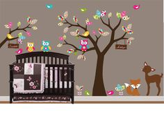 Children Wall Decal Pattern Leaf Wall Art Tree Decal - Nursery -Birds Owls Deer, Fox. $115.00, via Etsy.