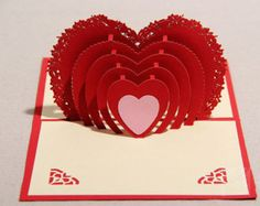 100*150mm paper craft 3D heart birthday card for lovers, novelty item unique wedding card cute boyfriend happy birthday cards