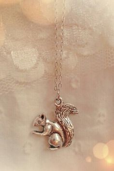 """Squirrel charm necklace. Double sided. Approx 17"""" long on a silver colored chain."""