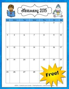 Free School Year Calendar from Laura Candler - Updated for 2014-2015 - includes both color and B&W pages