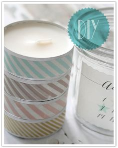 washi tape on tea lights .... place in glass jar with sticker decor