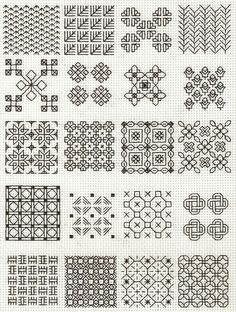 blackwork fill-in patterns from Lesley Wilkins Beginner's Guide to Blackwork - cross stitch I've been planning a largeish-scale blackwork project. These may come in handy.as an alternative, use a different colour of embroidery floss. Motifs Blackwork, Blackwork Cross Stitch, Blackwork Embroidery, Cross Stitching, Cross Stitch Embroidery, Cross Stitch Patterns, Beginner Embroidery, Embroidery Sampler, Embroidery Tattoo