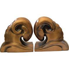 Art Deco Ram's Head Bookends