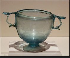 Roman Glass Skyphos in the Getty Villa, July 2008 Wine Cup Roman, 1-100 AD Glass Skyphos