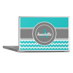 Turquoise and Gray Chevron Monogram Personalized L on CafePress.com