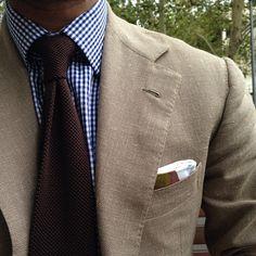 blue gingham brown knit tie pocket square jacket blazer