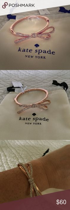 Rose Gold Kate Spade Tied up Pave Hinge Bangle Beautiful new with tags Rose Gold Kate Spade bracelet. Perfect for a night it on the town or a casual work outfit. kate spade Jewelry Bracelets