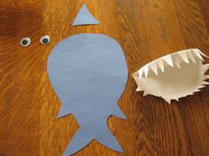 Shark Crafts for Preschool | glued the pieces together for us, and D added a few final touches.