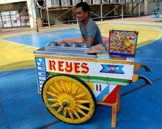 Flavor of the Road or Sorbetes is the traditional variation of ice cream made in the Philippines. Peddled by street hawkers using colorfully painted wooden carts which usually can accommodate three flavors, each in a large metal canister. it is usually served with small wafer or sugar cones and more recently, bread buns. It is uniquely made from coconut milk, unlike other iced desserts that are made from animal milk.