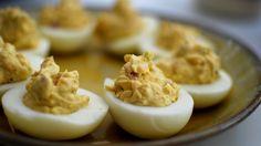 Pimento deviled eggs.