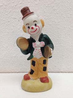 Vintage Antique Ceramic Handpainted Clown Playing the Cymbals Rare!
