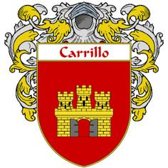Carrillo Coat of Arms   http://spanishcoatofarms.com/ has a wide variety of products with your Hispanic surname with your coat of arms/family crest, flags and national symbols from Mexico, Peurto Rico, Cuba and many more available upon request.