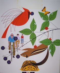 """""""A Good World"""" by Charley Harper. Acrylic on illustration board. Sohioan 1969. Image size: 15""""h. x 14""""w. http://www.harperoriginals.com/charleys-originals/a-good-world.html#"""