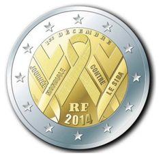 Moneda de coleccionismo de 2 euros de Francia conmemorando el Día Mundial Contra el Sida