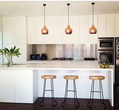 Copper & white kitchen! #kitchendesignnormal