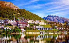 Download wallpapers St Moritz, 4k, lake, mountains, summer, Switzerland, Europe