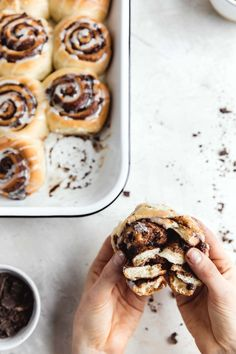 decadent 1 hour chocolate cinnamon rolls in a pan with the gooiest center and a cream cheese icing drizzle Chocolate Roll, Homemade Chocolate, Delicious Chocolate, Delicious Desserts, Cinnamon Roll Dough, Cinnamon Rolls, Baking Recipes, Dessert Recipes, Broma Bakery