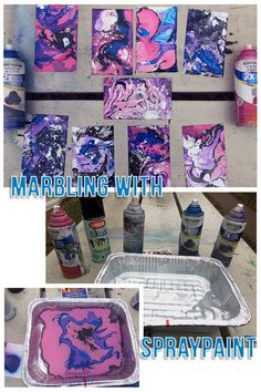 Marbling with Spraypaint - DIY Marbled Paper - Adria Black Art Spray Paint Canvas, Spray Paint Projects, Diy Spray Paint, Diy Canvas, Spray Painting, Art Projects, Canvas Art, Painting Tricks, Spray Paint Shoes