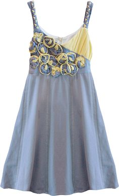 Isobella & Chloe Girls Gray / Yellow Braided Straps / Flower Bodice Dress