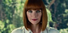 """The Claire Dearing Trilogy Of Jurassic World Essays """"Claire is the one who evolves the most over the trilogy; it's her story that mirrors this changing world."""" - Colin Trevorrow, director of Jurassic. Jurassic World Claire, Jurassic World 2015, Jurassic World Dinosaurs, Bryce Dallas Howard, Funeral, Indominus, Claire Dearing, Bob Haircut With Bangs, Bob Bangs"""