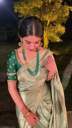 Lehenga Saree Design, Pattu Saree Blouse Designs, Saree Blouse Patterns, Indian Bridal Fashion, Indian Fashion Dresses, Saree Color Combinations, Saree Hairstyles, Wedding Saree Collection, Saree Photoshoot