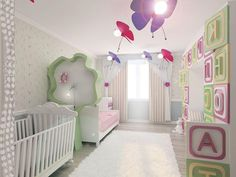 Baby Nursery White Wol Hairy Carpet With Nice Boy Baby Nursery Ideas Also Colorful Butterfly Shaped Lamp Hang Ceiling And Letter Wall Decor Besides White Crib Baby Beside Partition Bed  Square White Wooden Crib Baby   Makes Comfortable Nursery with Flor Rug