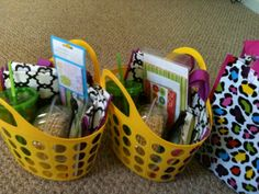 End of the year teacher and bus driver gifts. Yellow baskets, adorable tote bags, tumblers, juice mix, candy, stationary, cute blank cards, pens ad pizzelles! All from the Dollar Store for $1 each...except the Pizzelles. Cute and very inexpensive!