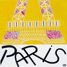Côté très #graphique, un peu comme les affiches des 30s, pour un #Paris minimaliste.  #tableau : PARIS par ALETH M #art #deco #design