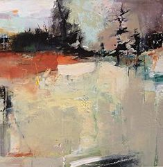 "Promise of Rain-Abstract Landscape by Joan Fullerton Acrylic ~ 24"" x 24"""