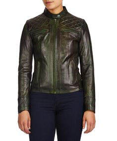 Marbled green quilted leather jacket Sale - Helium