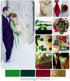 Cranberry Red, Green and Gold Winter Wedding Color Inspiration Palette