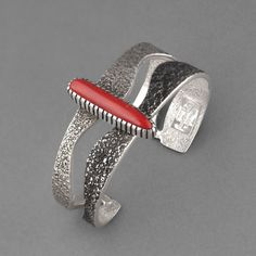 Cuff | Michael Roanhorse. (Navajo). Sterling Silver, Natural Red Coral