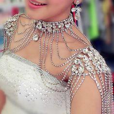 Luxury Rhinestones Shoulder Chain Bride Necklace+Earring Crystal Wedding Jewelry