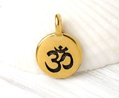 2 Small Om Charms, Golden Om Charm, TierraCast Zen Charm, Meditation Charm, Gold Plated, Made in the USA, 16.6x11.6mm, TB18 by TreeTerracom on Etsy