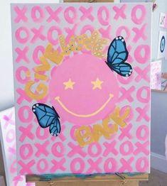 Simple Canvas Paintings, Small Canvas Art, Cute Paintings, Mini Canvas Art, Diy Canvas, Dorm Art, Art Diy, Arte Sketchbook, Art Design