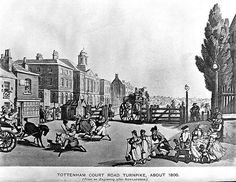 1800 ca. Tottenham Court Road Turnpike, London, UK.  From an Engraving after Rowlandson.  wellcomeimages.org   (PD-Art)