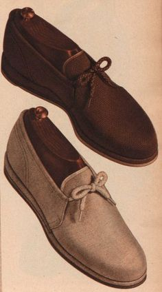 From the 1920′s to the 1950′s men's shoes had an overall similar style and color palate. Lace up dress shoes were the most practical while boots were worn for work, sneakers for sports, sandals in the summer, and loafers for at home.
