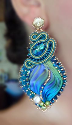 "EARRINGS, bead embroidery, shibori silk, soutache, swarovski. Designed by ""Serena Di Mercione Jewelry"""