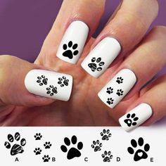 Paw cat paw dog nail art 60 nail decals Nail Art by Marziaforever Camo Nails, Dog Nails, Cute Nail Art Designs, Gel Nail Designs, Dog Nail Art, Panda Nail Art, Paw Print Nails, Peacock Nail Art, Country Nails