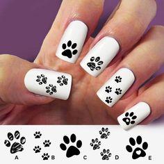 Paw cat paw dog nail art 60 nail decals Nail Art by Marziaforever Cat Nail Designs, Cute Nail Art Designs, Camo Nails, Dog Nails, Dog Nail Art, Panda Nail Art, Paw Print Nails, Peacock Nail Art, Country Nails