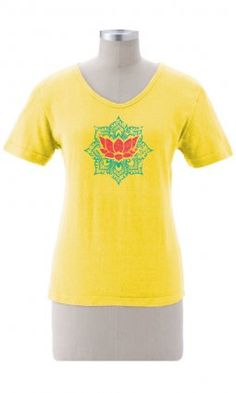 Earth Creations - Moroccan Lotus on Better Than Before Scoop A bright red lotus blooms in the middle of a moroccan themed design. A delightful design that will bring a smile to your face.  55% Hemp / 45% Organic Cotton.  $38.00 #madeinusa #earthcreations #printedtee