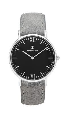 """Kapten & Son - Silver """"Black Grey Vintage Leather"""""""