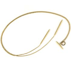 duende long gold necklace Minimal Jewelry, Black Rhodium, Simple Shapes, Gold Necklace, Loft, Island, Jewels, Jewellery, Sterling Silver