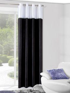 Biały pasek modna zasłona do salonu w kolorze czarnym