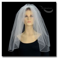 Two Layer Pencil Edge Shoulder Length Bridal Veil